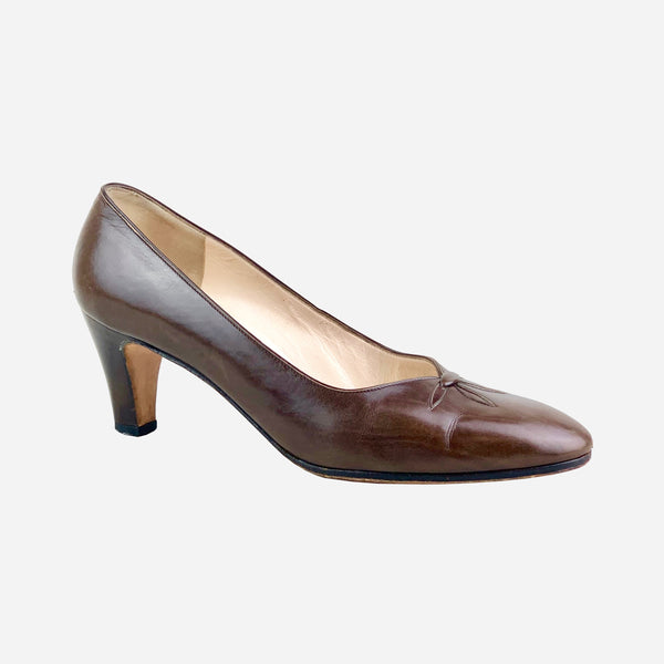 Brown Leather Semi-Pointed Toe Pumps
