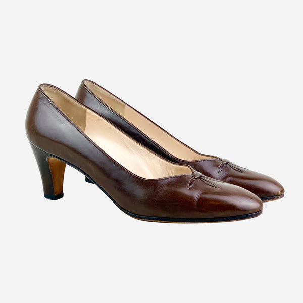 Salvatore Ferragamo Brown Leather Semi-Pointed Toe Pumps