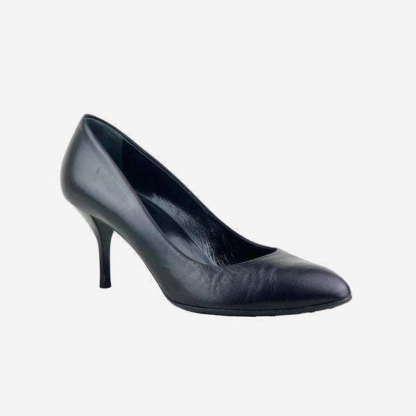 Black Leather Semi-Pointed Pumps