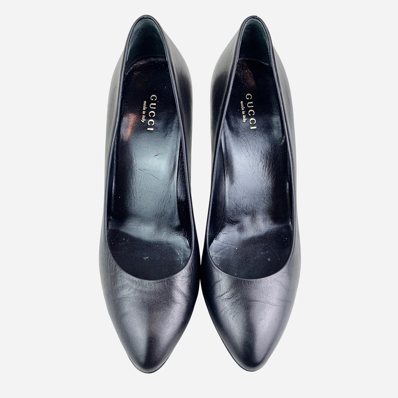 Gucci Black Leather Semi-Pointed Pumps