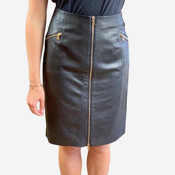 J Brand Black Leather Knee-Length Zipper Skirt