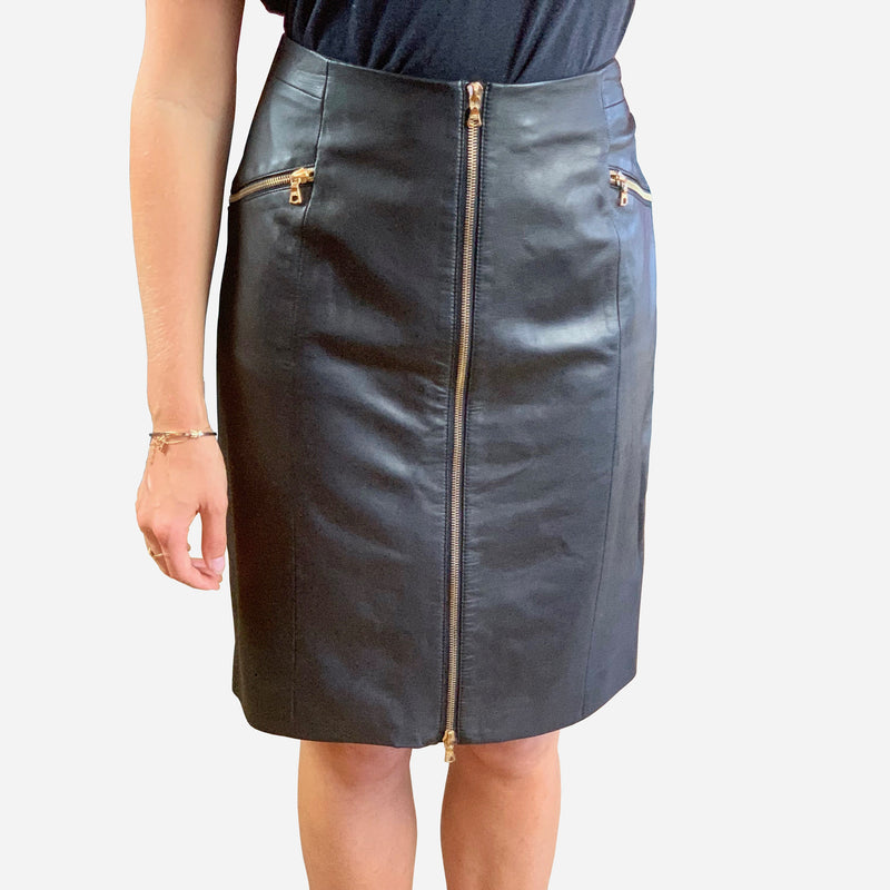 Black Leather Knee-Length Zipper Skirt