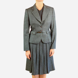 Black Check Knee-Length Pleated Skirt Suit
