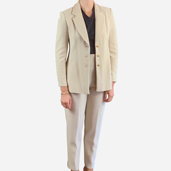Light-Tan Notch-Lapel Knit Pants Suit