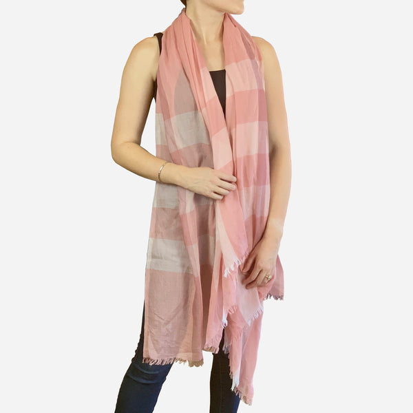Pink Mega Check Cashmere and Silk Scarf