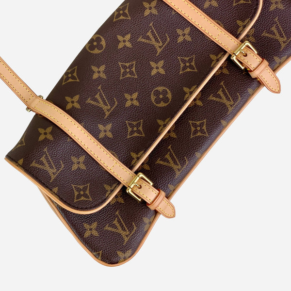 Brown and Tan Monogram Pochette Marelle Shoulder Bag