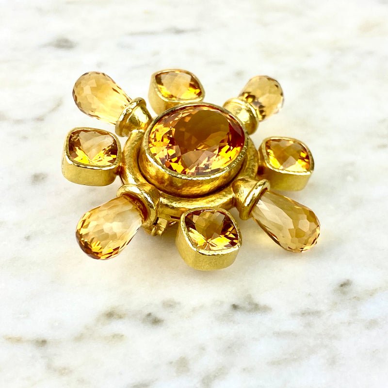 18K Yellow Gold and Citrine Brooch