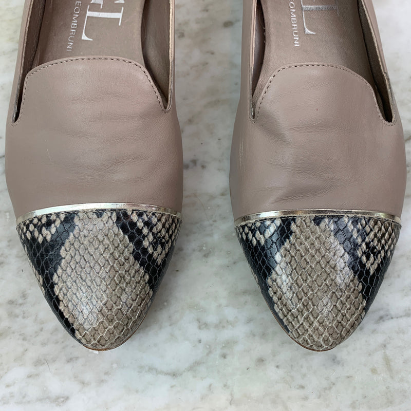 Taupe Leather Semi-pointed Toe Loafers Flats