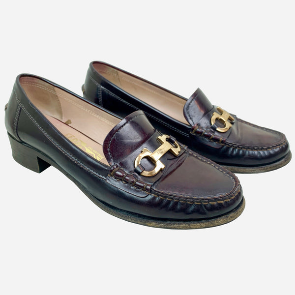 Dark Brown Leather Gancini Loafers