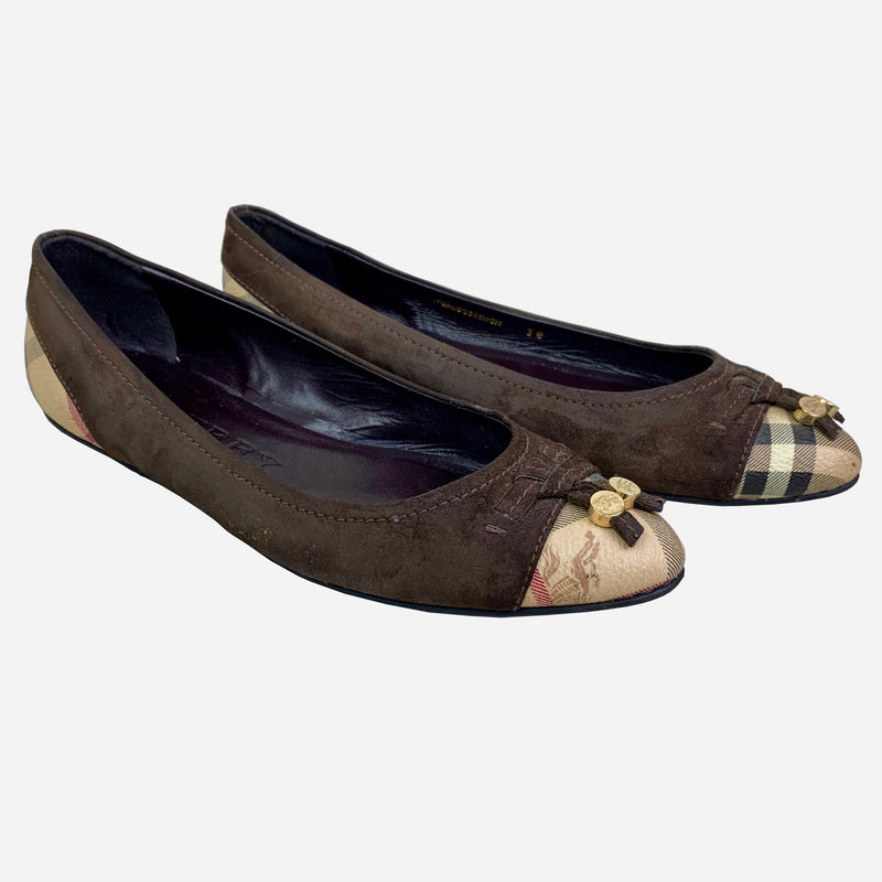 Burberry Brown Suede and Check Ballet Flats
