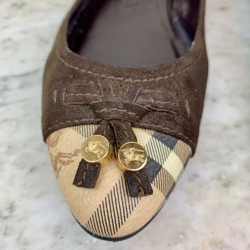 Brown Suede and Check Ballet Flats