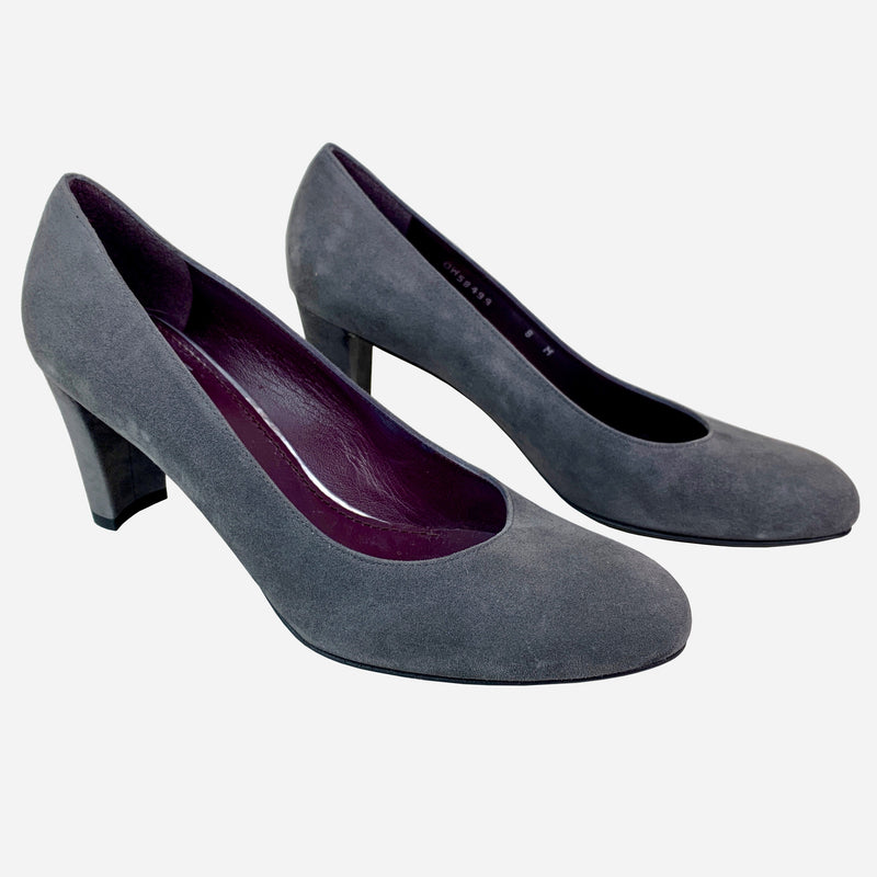 Stuart Weitzman Gray Suede Round-toe Low Pumps