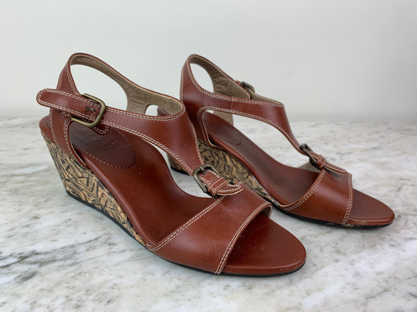 Anyi Lu Brown Leather and Cork Embossed Sandals Wedges