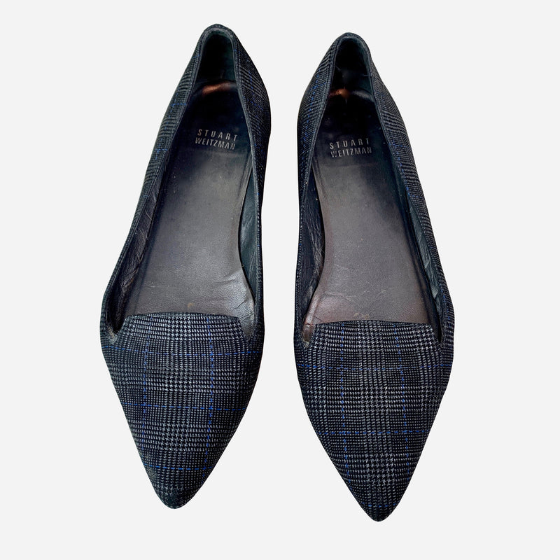 Stuart Weitzman Gray and Black Plaid Pointed Toe Flats