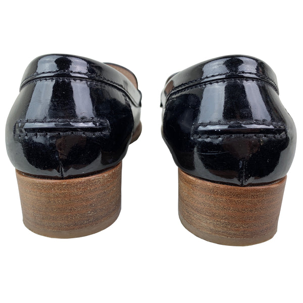 Black Patent Leather Round-Toe Loafers