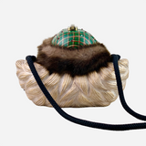 Multicolored Wooden and Faux Fur 'Santa Claus' Crossbody