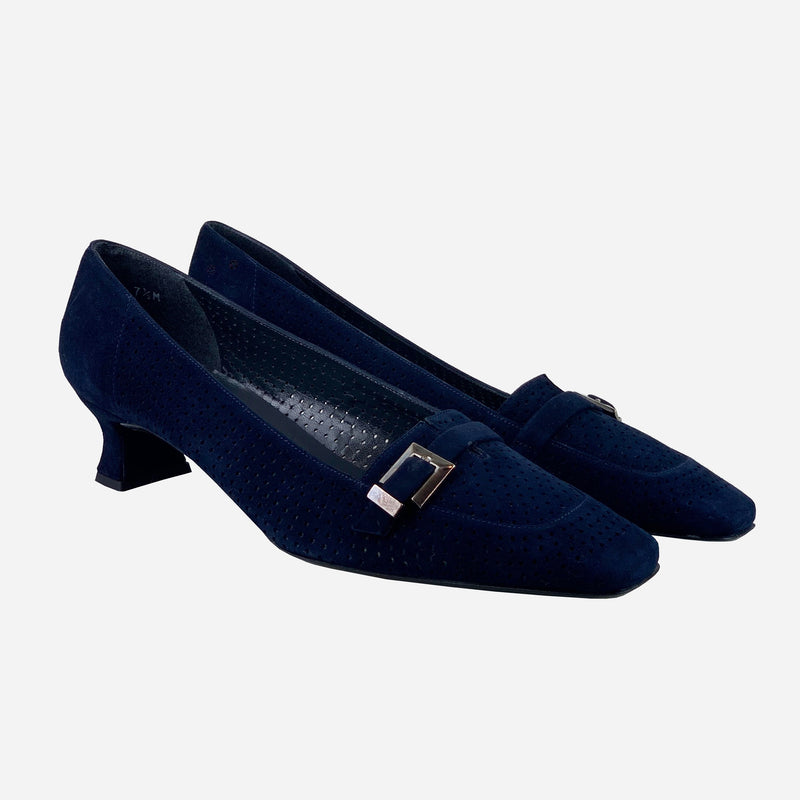 Navy-Blue Suede Square-Toe Low-Heeled Pumps