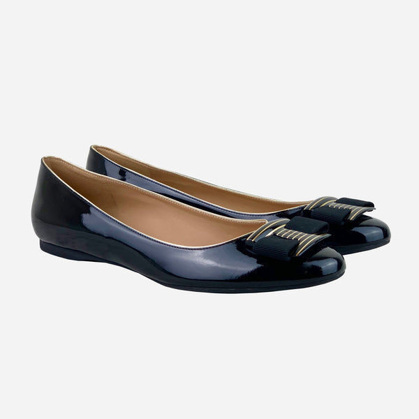 Black Patent Leather Ninna Striped Ballet Flats