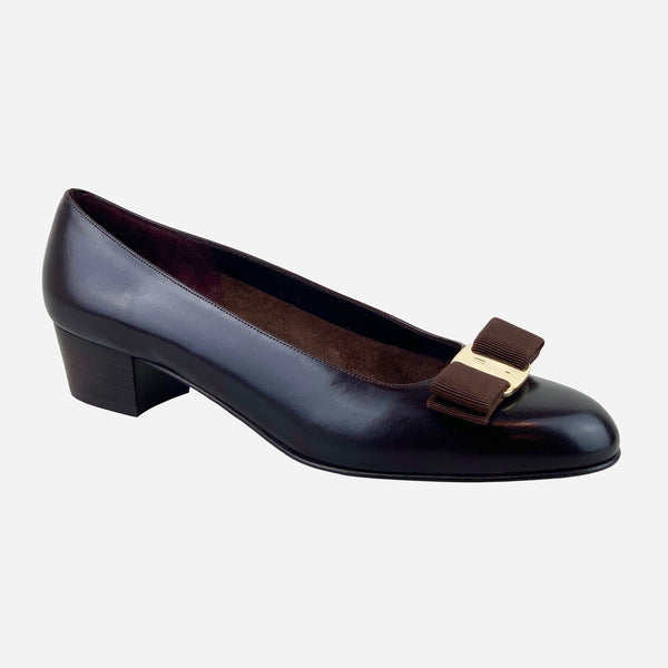Salvatore Ferragamo Chocolate Leather Vara Bow Round-Toe Low-Heeled Pumps