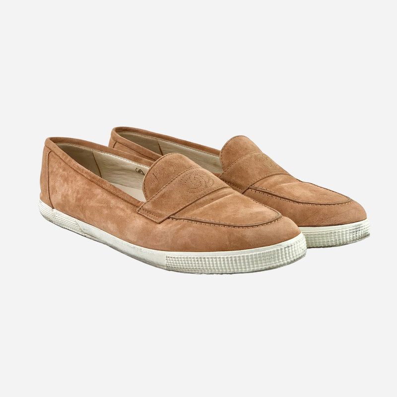 Light-Brown Suede Round-Toe Loafers