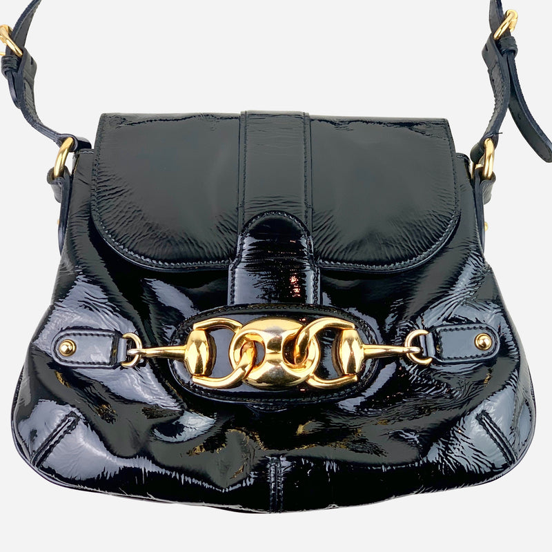 Gucci Black Patent Leather Shoulder Bag