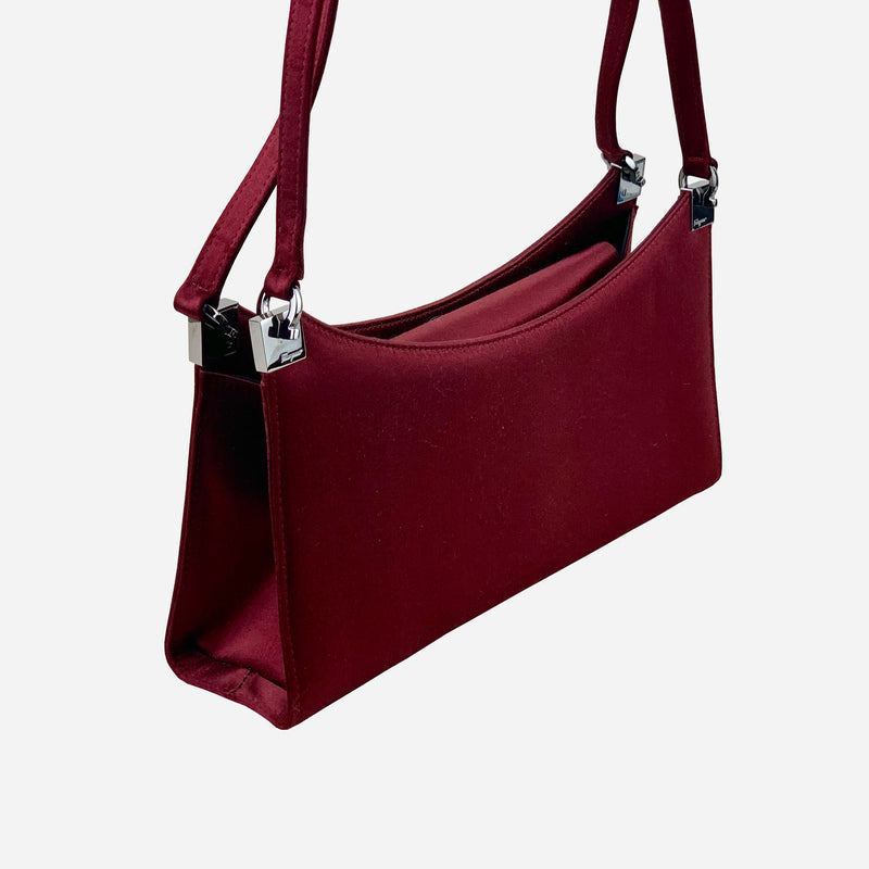 Burgundy Satin Evening Shoulder Bag