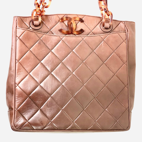 Chanel Chocolate Quilted Tortoise Chain Tote