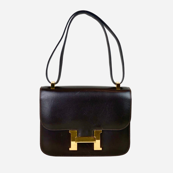 Hermès Dark-Brown Box Constance 23 Shoulder Bag