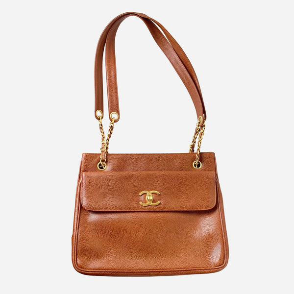 Chanel Brown Caviar Leather CC Tote