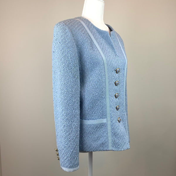 Light-Blue Wool Bouclé Jacket