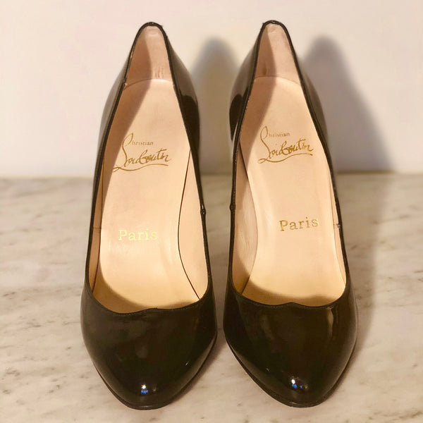 Christian Louboutin Black Patent Leather Silver Pump Formal Shoes