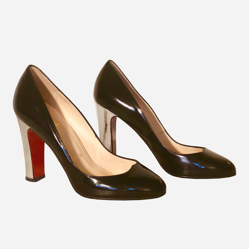 Black Patent Leather Silver Pump Formal Shoes