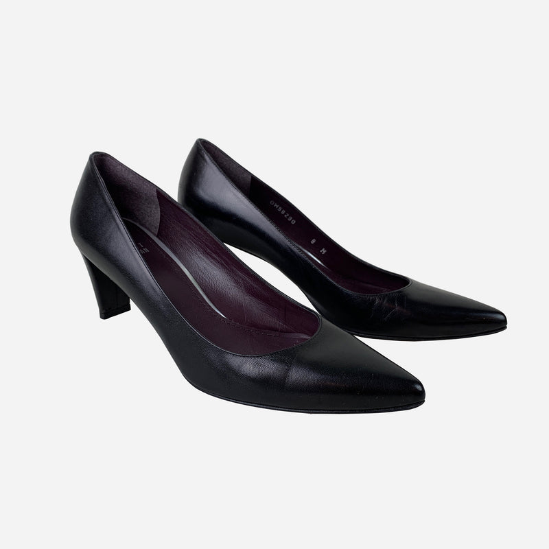 Stuart Weitzman Black Leather Pointed-Toe Pumps