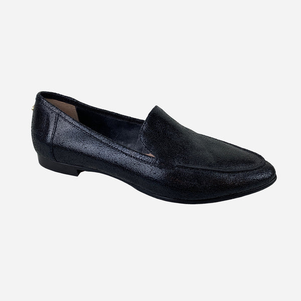 Kate Spade Black Crackled Leather Semi-Pointed Loafers