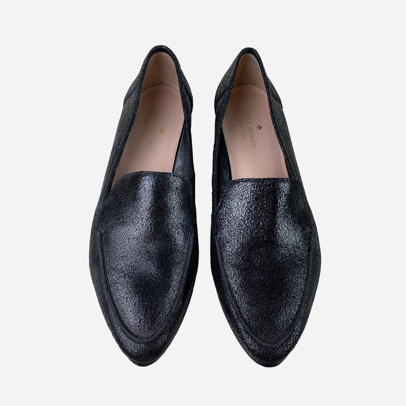Black Crackled Leather Semi-Pointed Loafers