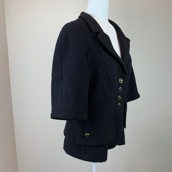 Chanel Black Tweed Notch-Lapel Jacket