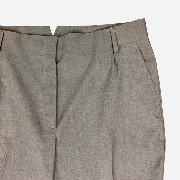 Brunello Cucinelli Taupe Straight-Legged Wool Pants