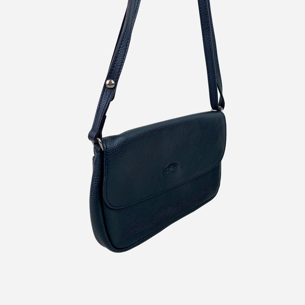 Longchamp Dark-Navy Grained Leather Crossbody Bag