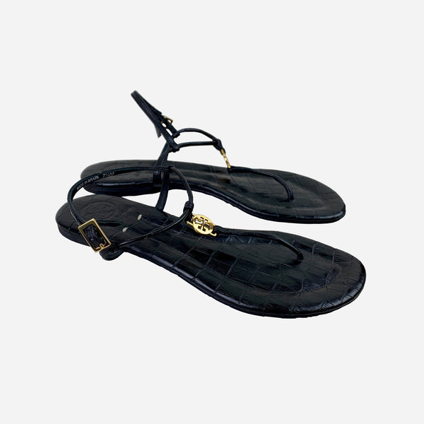 Tory Burch Black Embossed Leather Sandals
