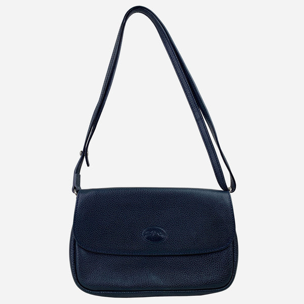 Dark-Navy Grained Leather Crossbody Bag