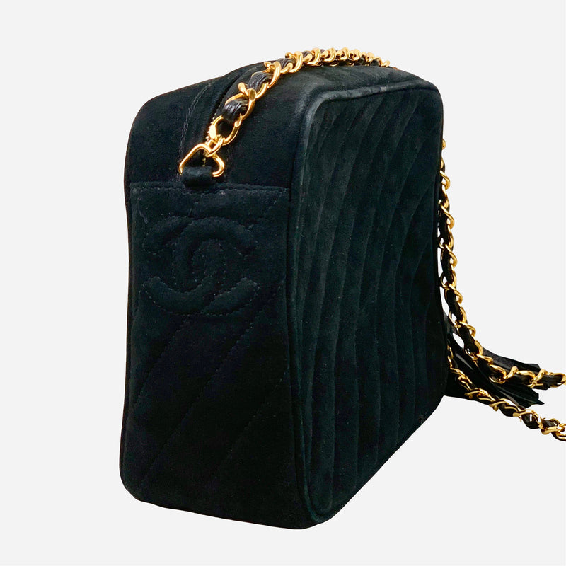 Black Suede Quilted Camera Bag