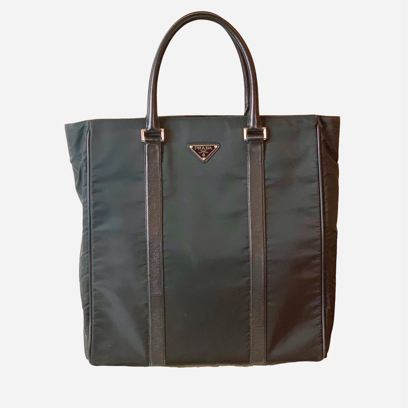 Black Leather Trim and Nylon Tote