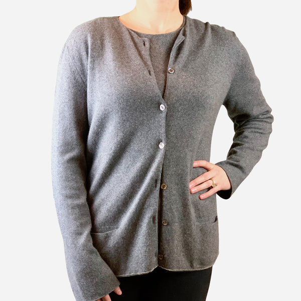 Chanel Gray Cashmere and Silk Long Sleeve Sweater Set