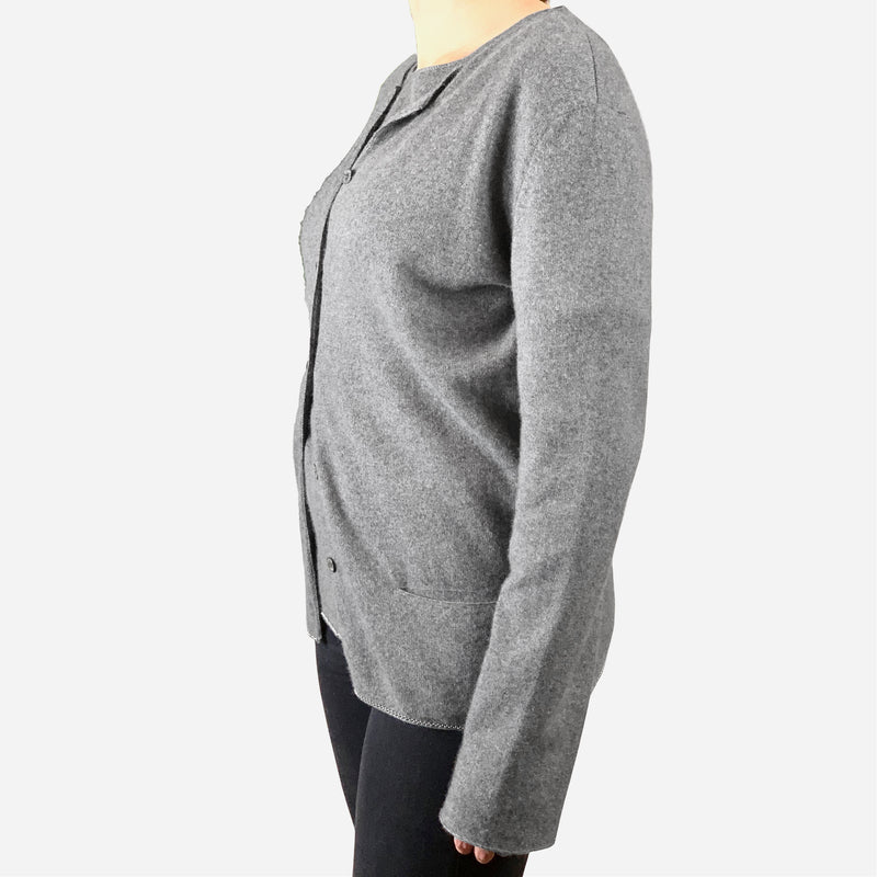 Gray Cashmere and Silk Long Sleeve Sweater Set