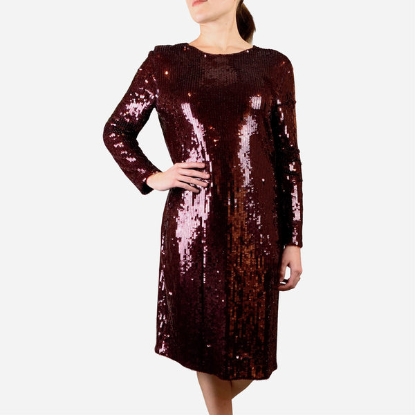 Givenchy Burgundy Sequined Embellished Long Sleeve Dress