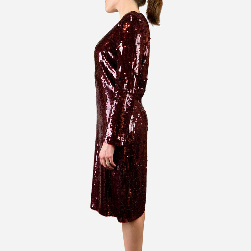 Burgundy Sequined Embellished Long Sleeve Dress