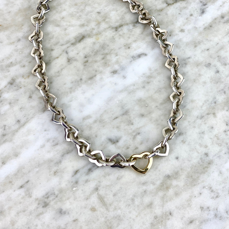 Sterling Silver and 18K Yellow Gold 'Heart' Link Necklace
