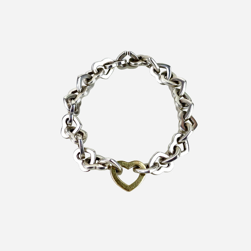 Sterling Silver and 18K Yellow Gold 'Heart' Link Bracelet