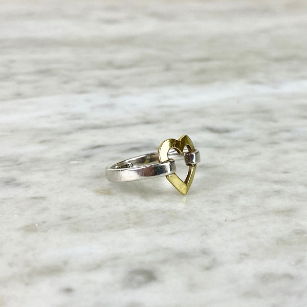 Sterling Silver and 18K Yellow Gold Open 'Heart' Ring