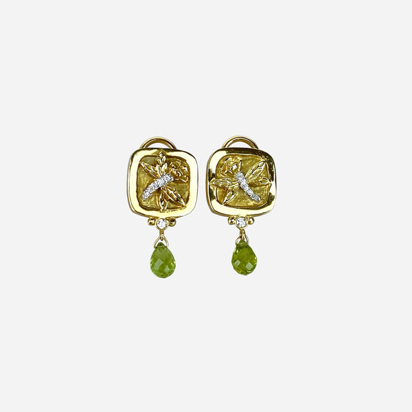 18K Yellow Gold, Diamond and Peridot 'Dragonfly' Ear Clips